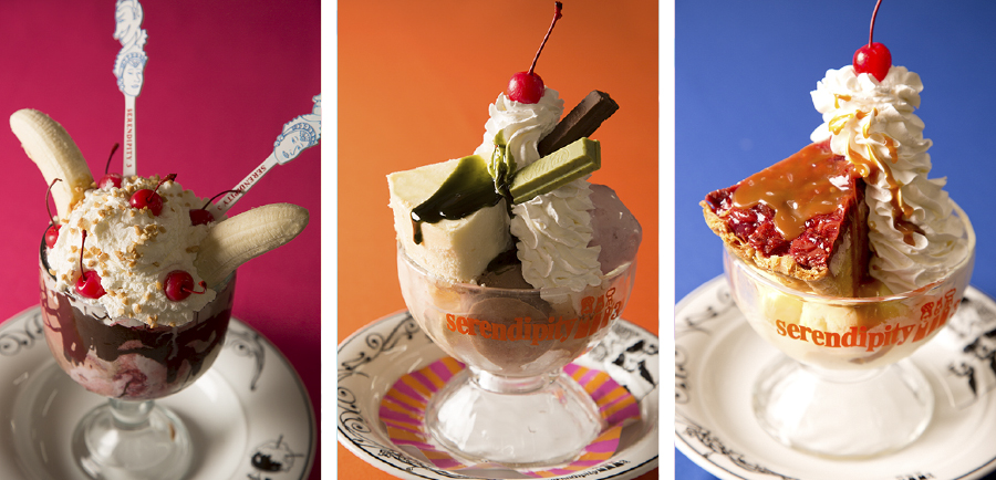 Outrageous Banana Split Sundae, Kit Kat Sundae, Cherry Pie Sundae
